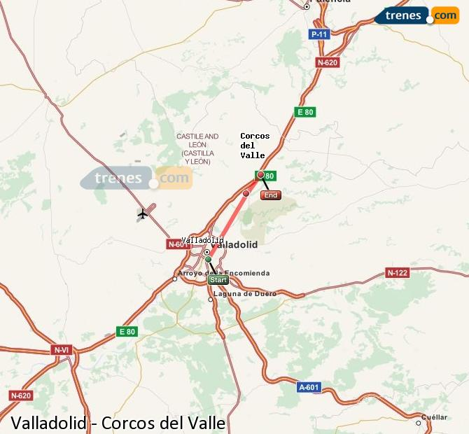 Enlarge map Trains Valladolid to Corcos del Valle