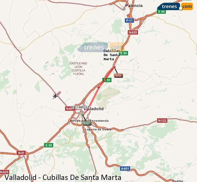 Ampliar mapa Trenes Valladolid Cubillas De Santa Marta