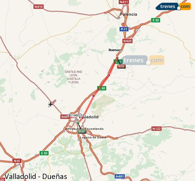 Enlarge map Trains Valladolid to Dueñas