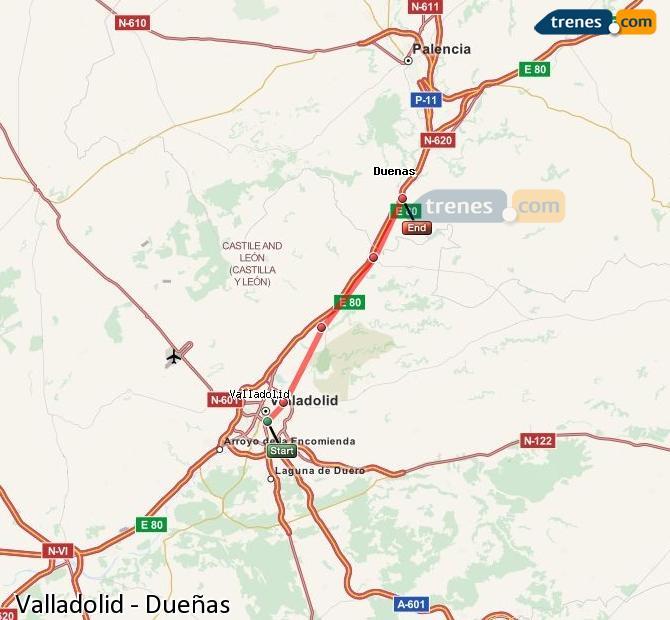 Ampliar mapa Comboios Valladolid Dueñas