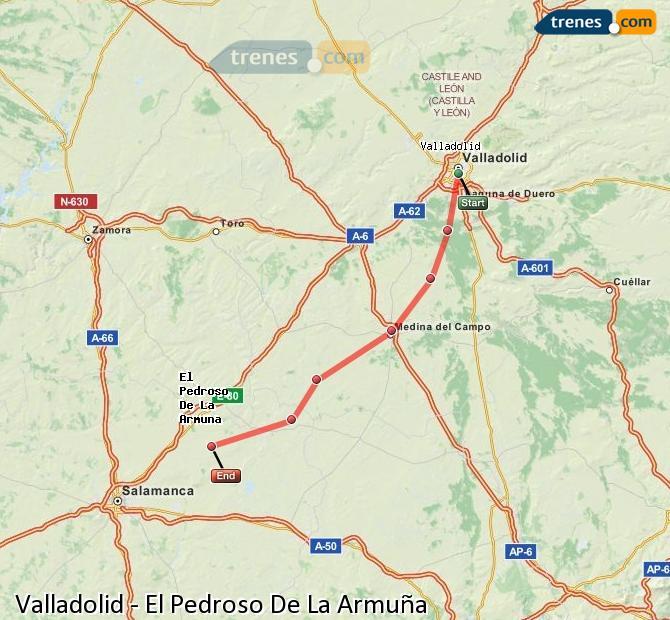 Agrandir la carte Trains Valladolid El Pedroso De La Armuña