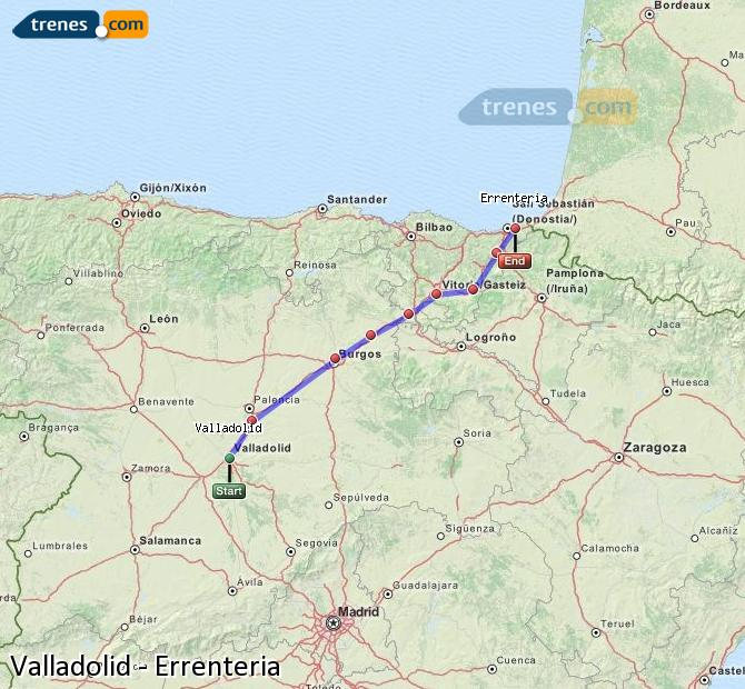 Enlarge map Trains Valladolid to Errenteria