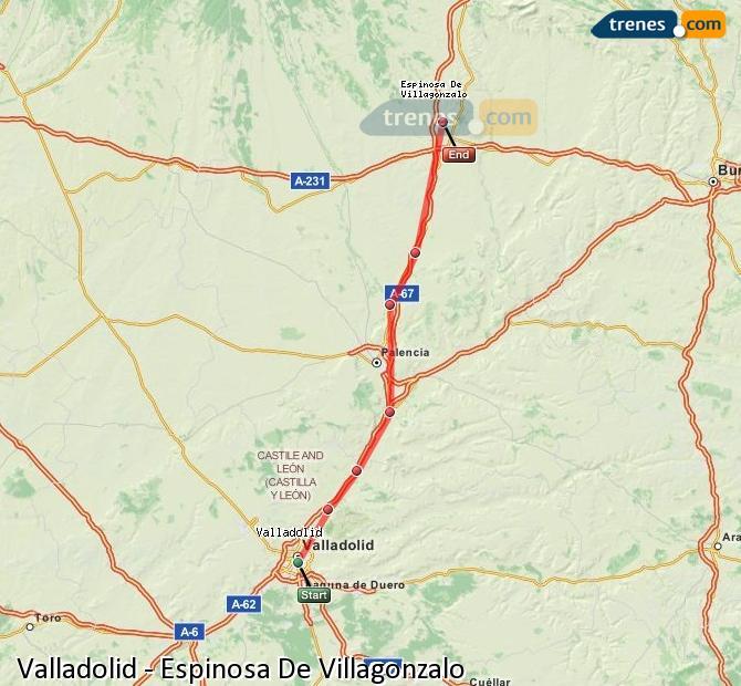 Karte vergrößern Züge Valladolid Espinosa De Villagonzalo