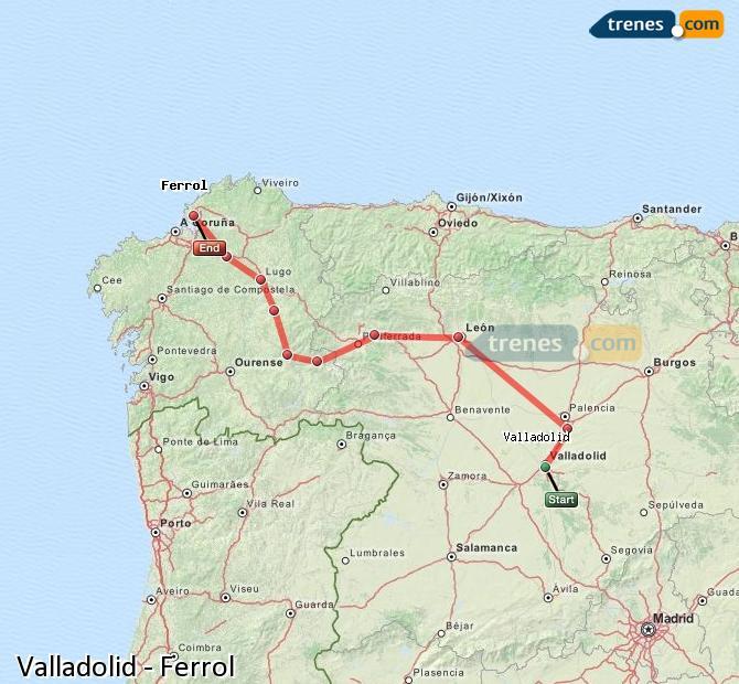 Ampliar mapa Trenes Valladolid Ferrol