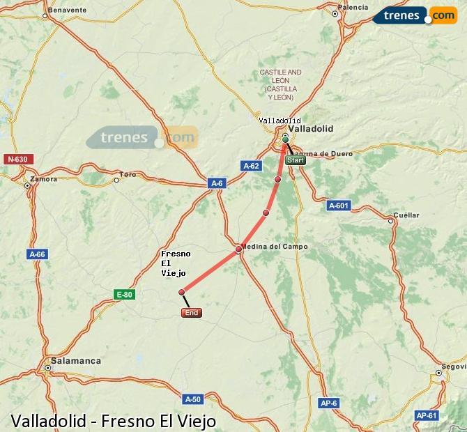 Karte vergrößern Züge Valladolid Fresno El Viejo