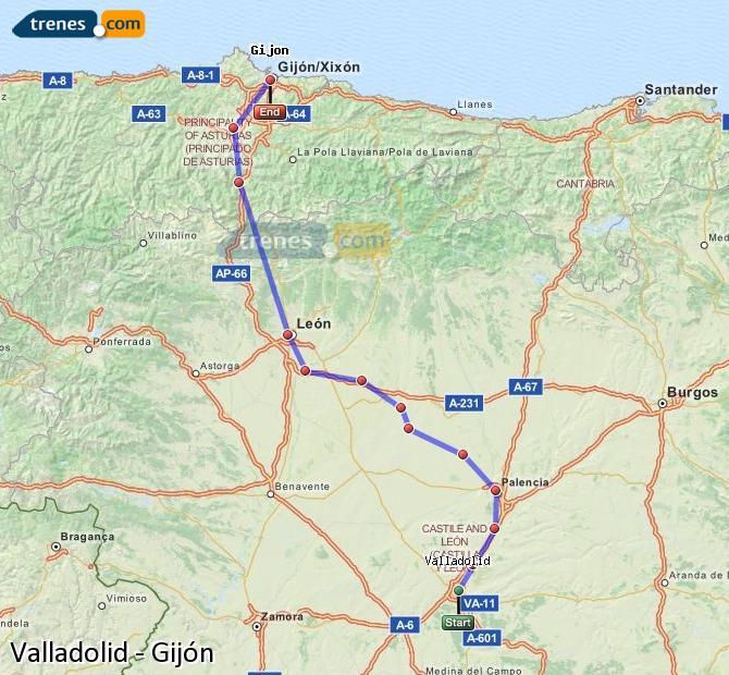 Karte vergrößern Züge Valladolid Gijón
