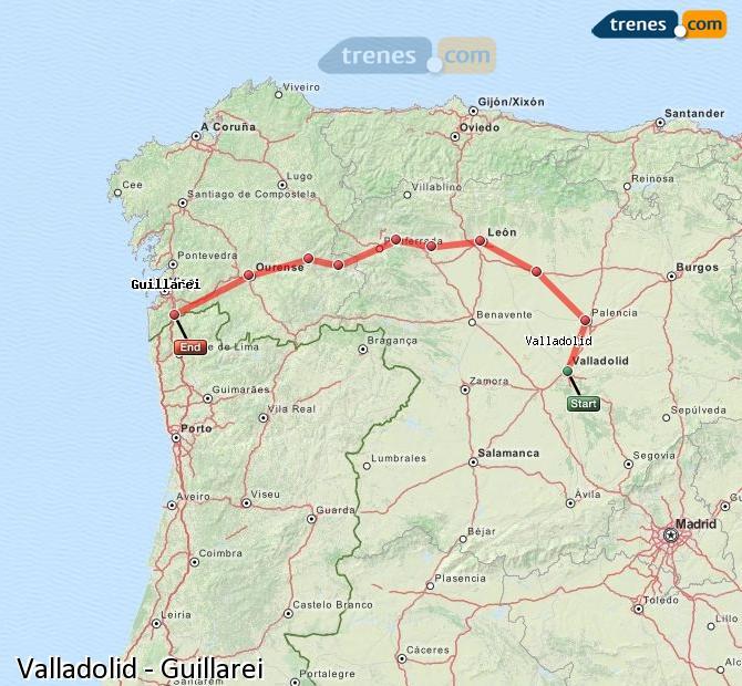 Karte vergrößern Züge Valladolid Guillarei