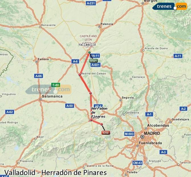 Ingrandisci la mappa Treni Valladolid Herradón de Pinares