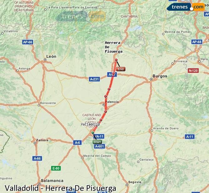 Enlarge map Trains Valladolid to Herrera De Pisuerga