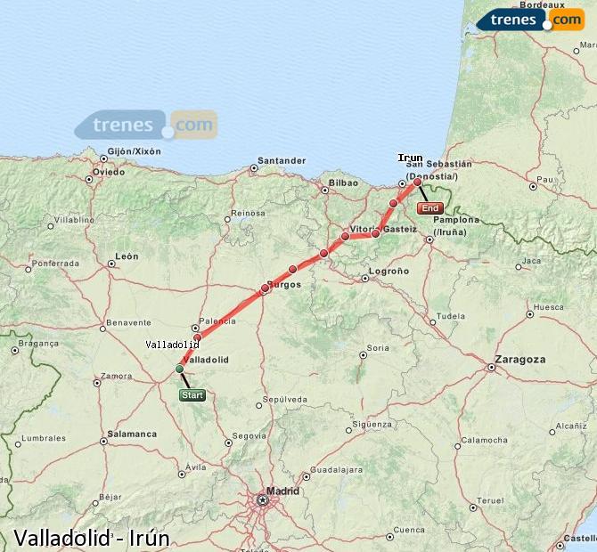 Karte vergrößern Züge Valladolid Irún