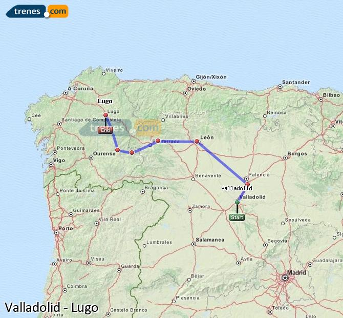 Ingrandisci la mappa Treni Valladolid Lugo
