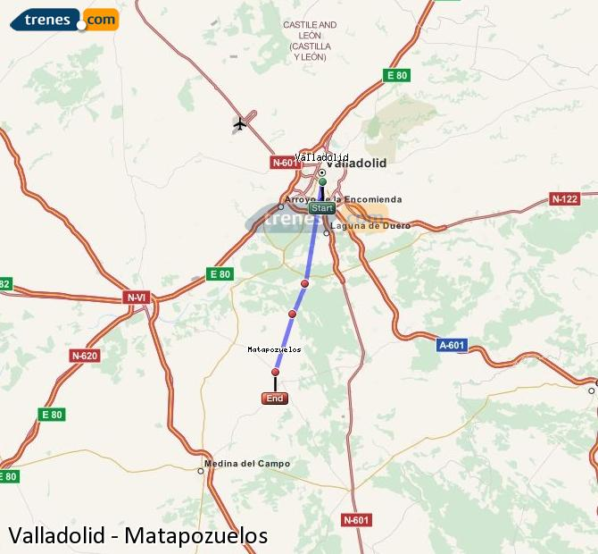 Enlarge map Trains Valladolid to Matapozuelos