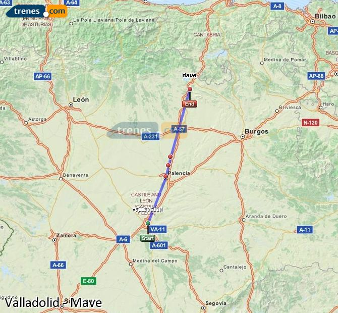 Enlarge map Trains Valladolid to Mave
