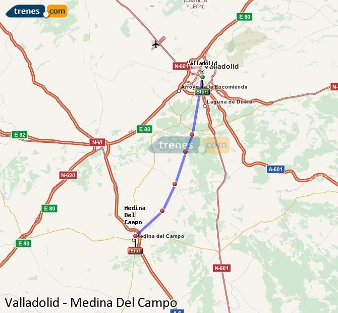 Enlarge map Trains Valladolid to Medina Del Campo