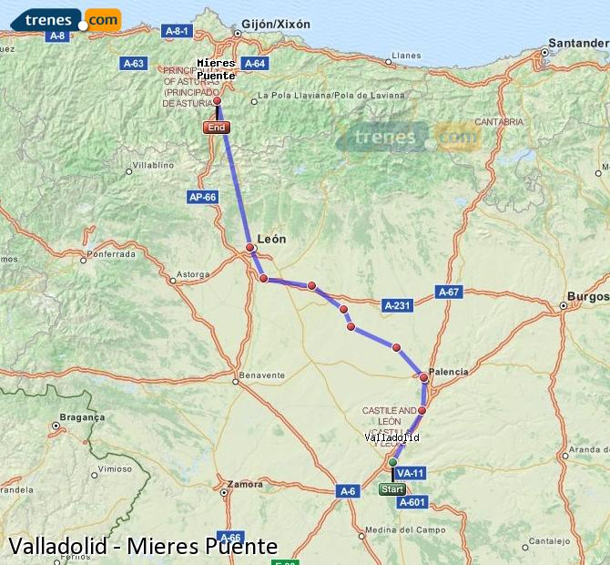 Enlarge map Trains Valladolid to Mieres Puente
