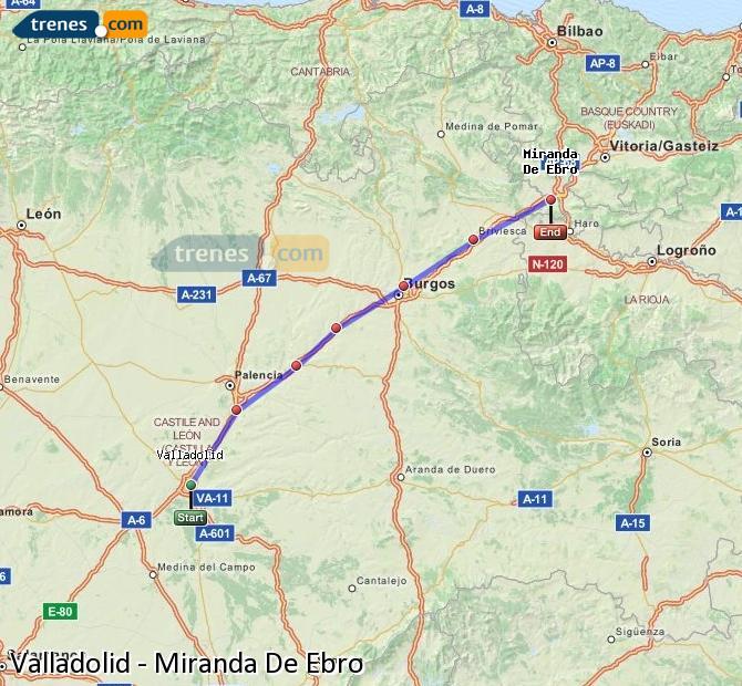 Ingrandisci la mappa Treni Valladolid Miranda De Ebro
