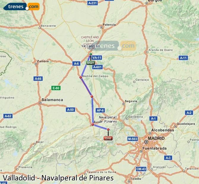 Ingrandisci la mappa Treni Valladolid Navalperal de Pinares