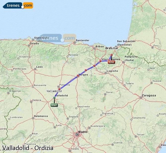 Ingrandisci la mappa Treni Valladolid Ordizia