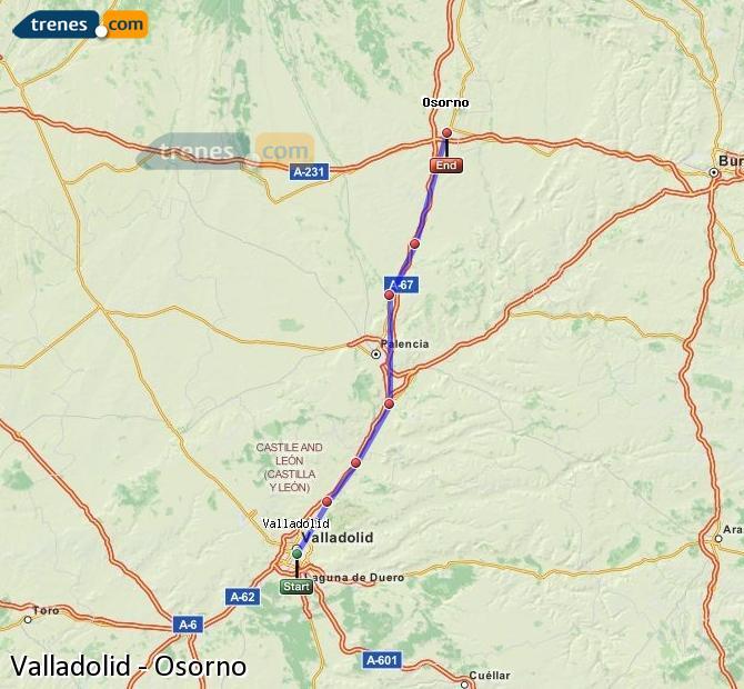 Agrandir la carte Trains Valladolid Osorno
