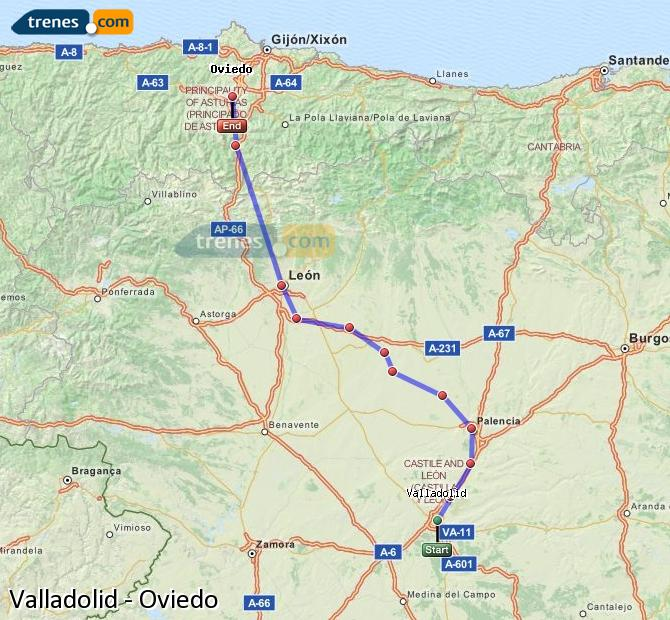 Enlarge map Trains Valladolid to Oviedo