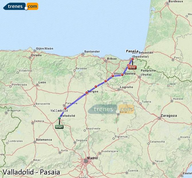 Enlarge map Trains Valladolid to Pasaia