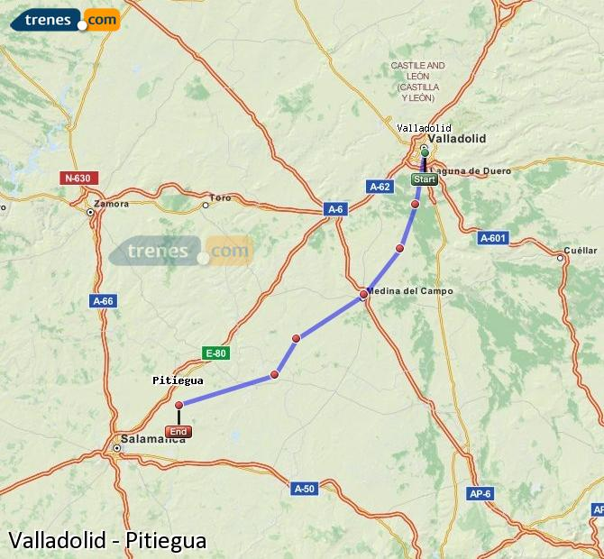 Enlarge map Trains Valladolid to Pitiegua