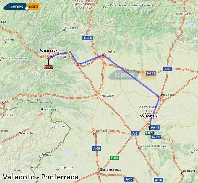 Agrandir la carte Trains Valladolid Ponferrada