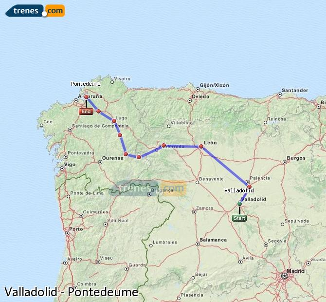 Enlarge map Trains Valladolid to Pontedeume