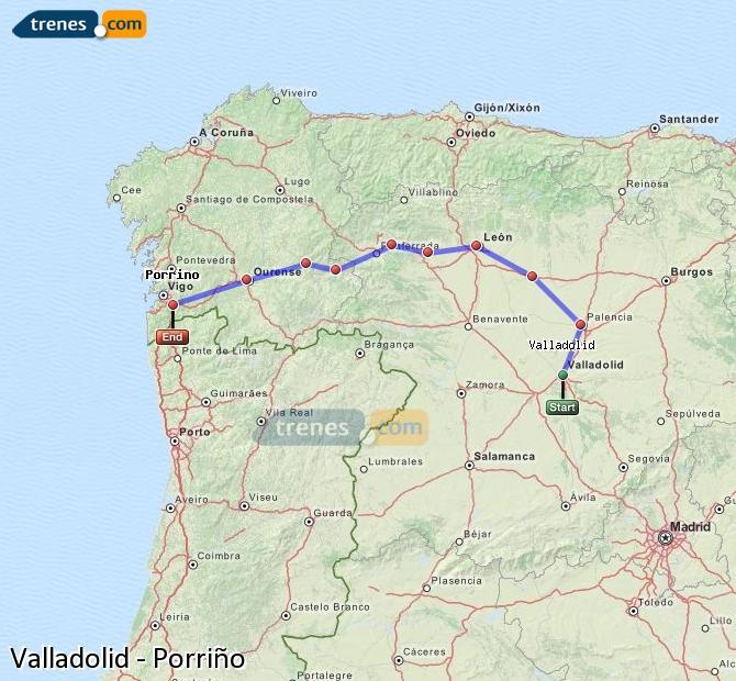 Agrandir la carte Trains Valladolid Porriño