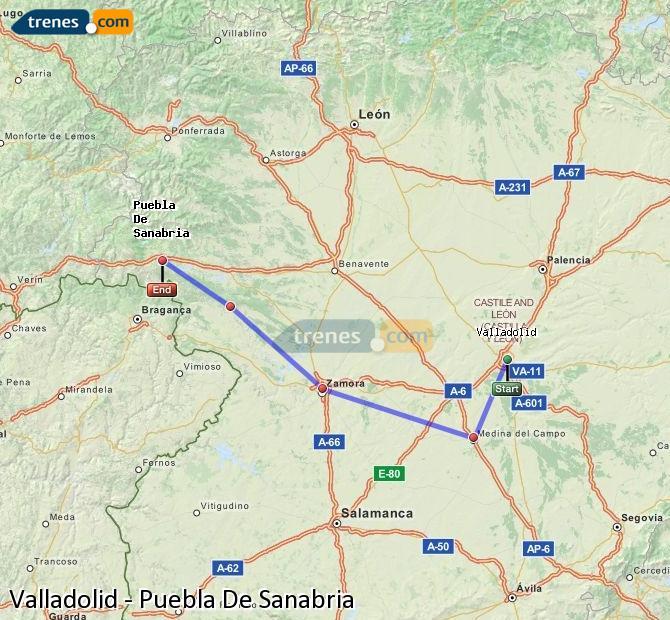 Karte vergrößern Züge Valladolid Puebla De Sanabria
