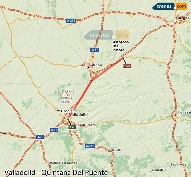 Enlarge map Trains Valladolid to Quintana Del Puente