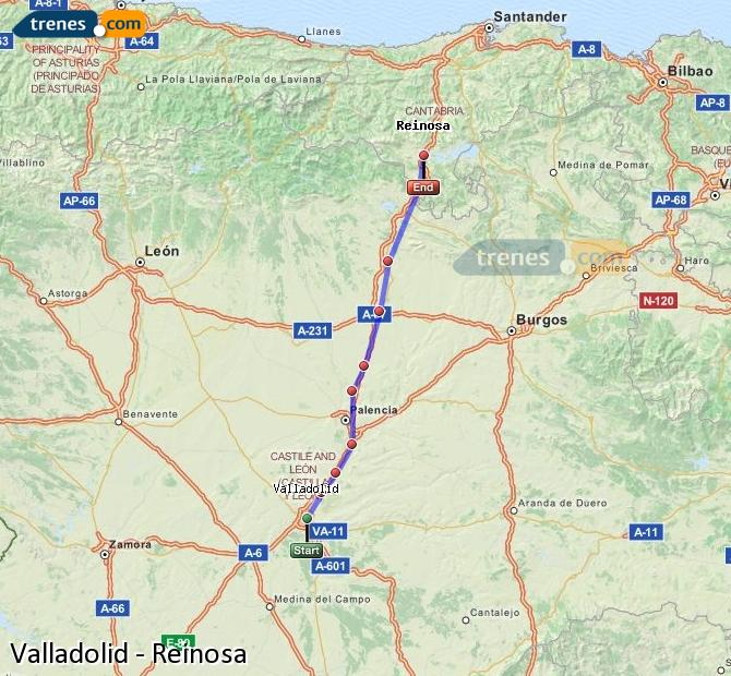 Enlarge map Trains Valladolid to Reinosa