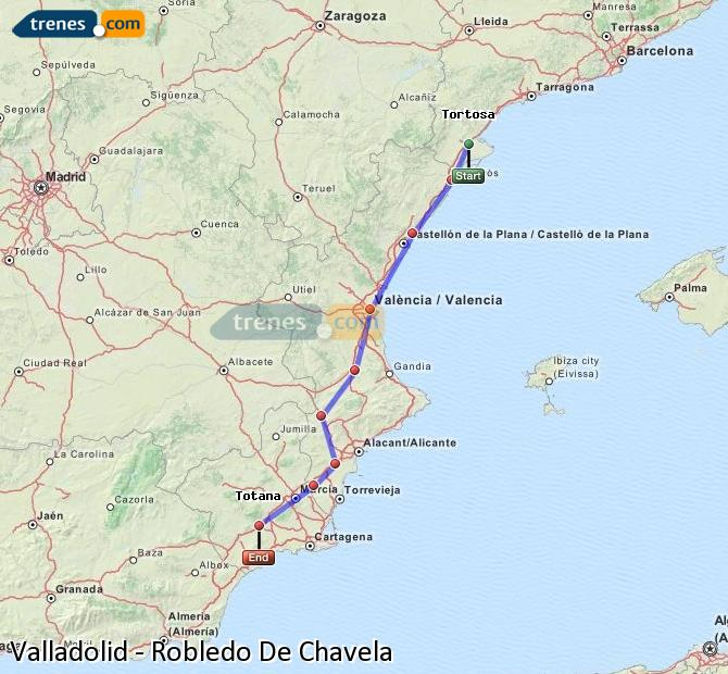 Enlarge map Trains Valladolid to Robledo De Chavela