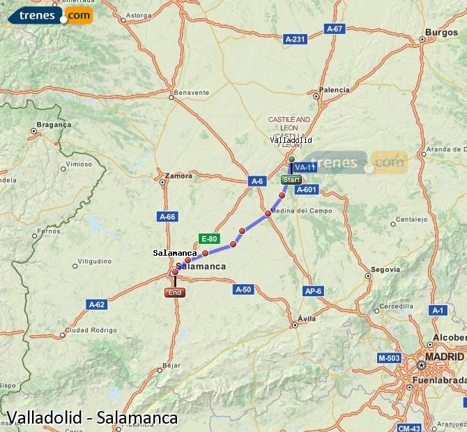 Ampliar mapa Comboios Valladolid Salamanca