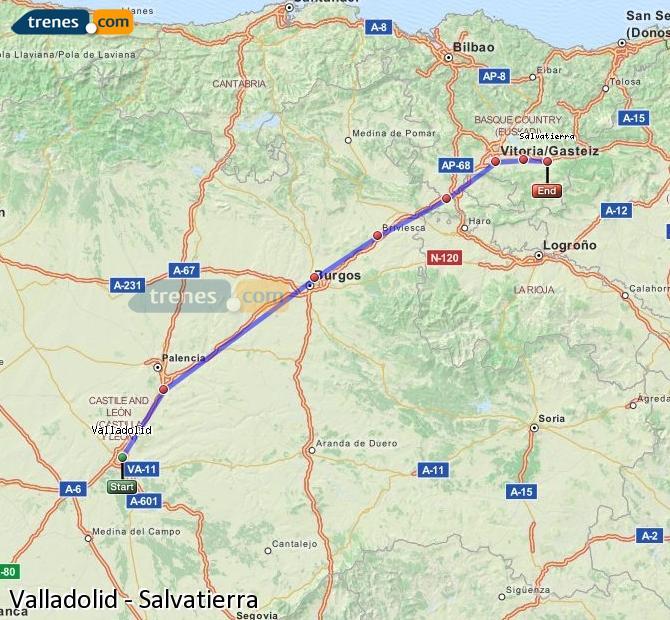 Ampliar mapa Trenes Valladolid Salvatierra