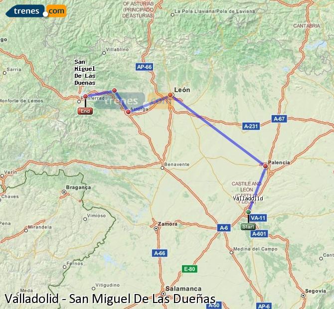 Karte vergrößern Züge Valladolid San Miguel De Las Dueñas