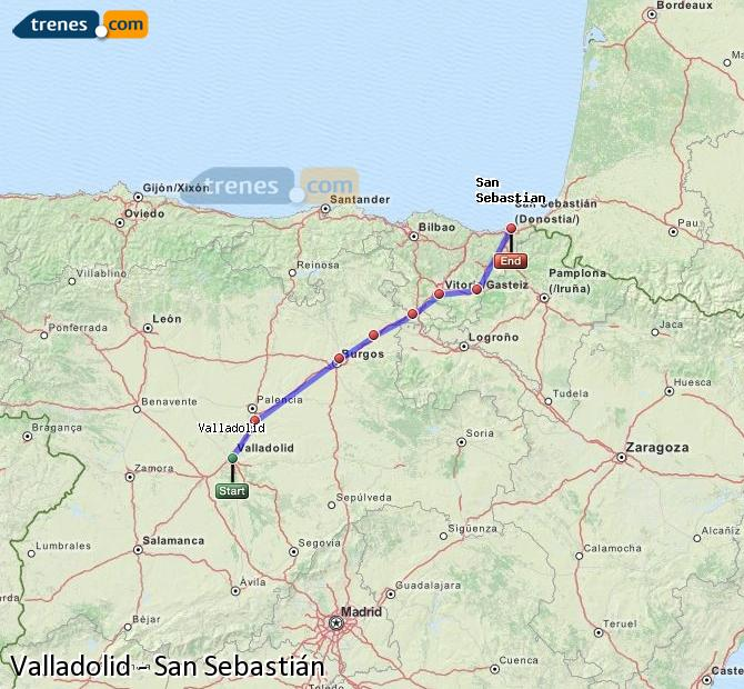 Enlarge map Trains Valladolid to Saint Sebastian