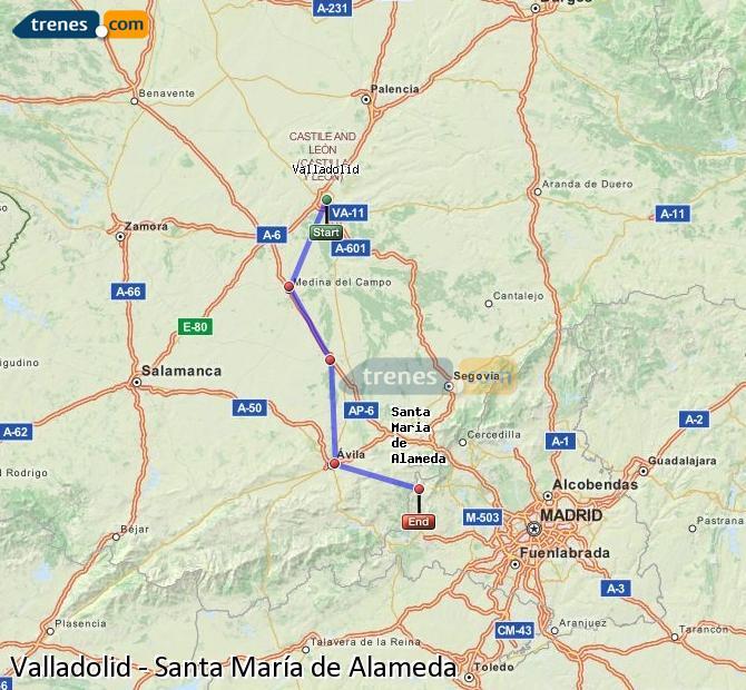 Karte vergrößern Züge Valladolid Santa María de Alameda