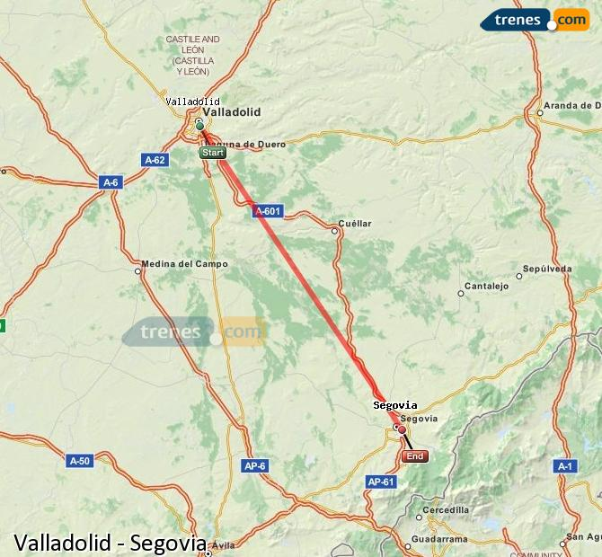 Enlarge map Trains Valladolid to Segovia