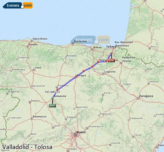 Enlarge map Trains Valladolid to Tolosa