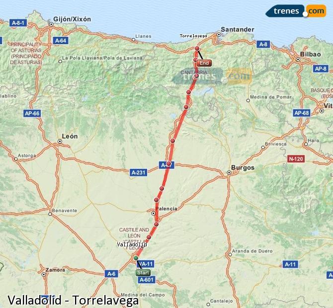 Enlarge map Trains Valladolid to Torrelavega