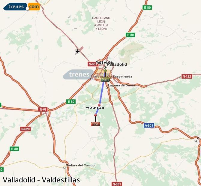 Ampliar mapa Comboios Valladolid Valdestillas