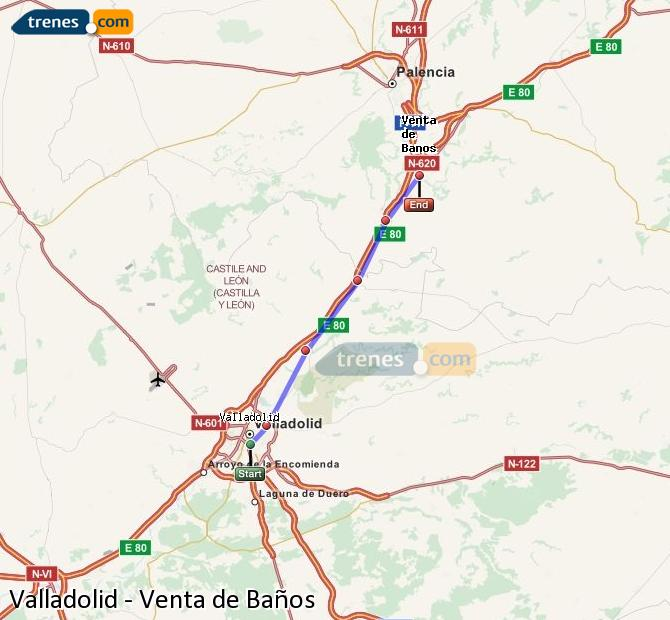 Enlarge map Trains Valladolid to Venta de Baños