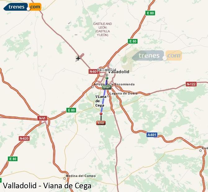 Ingrandisci la mappa Treni Valladolid Viana de Cega