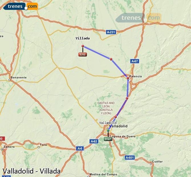 Agrandir la carte Trains Valladolid Villada