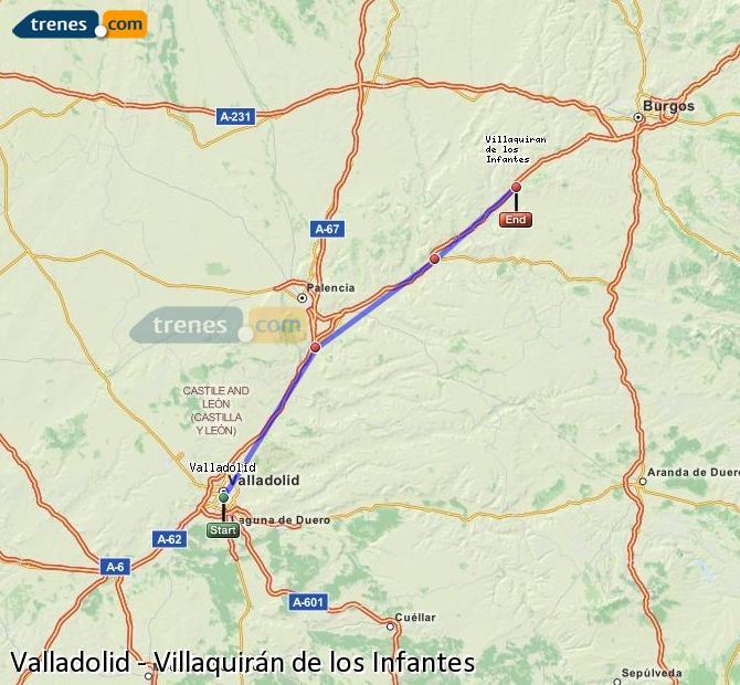 Ampliar mapa Comboios Valladolid Villaquirán de los Infantes