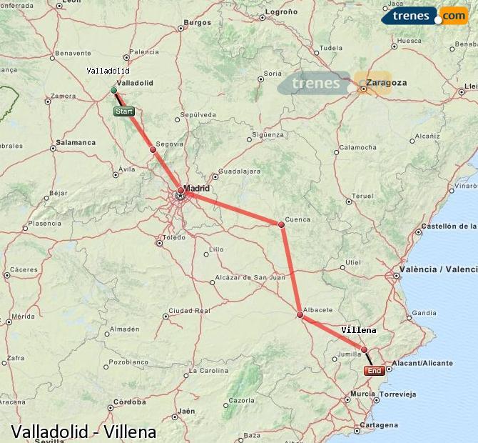 Ampliar mapa Trenes Valladolid Villena