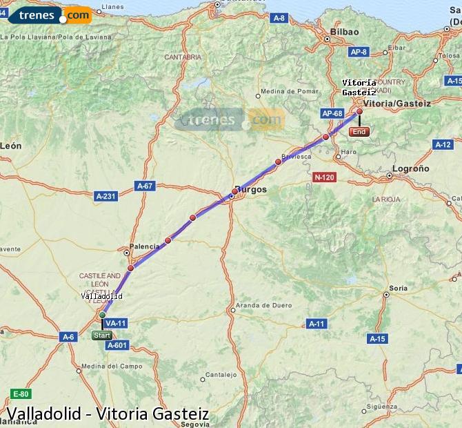 Karte vergrößern Züge Valladolid Vitoria Gasteiz