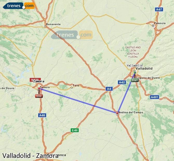 Agrandir la carte Trains Valladolid Zamora