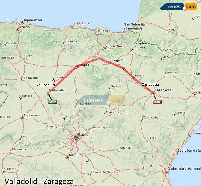 Ampliar mapa Trenes Valladolid Zaragoza